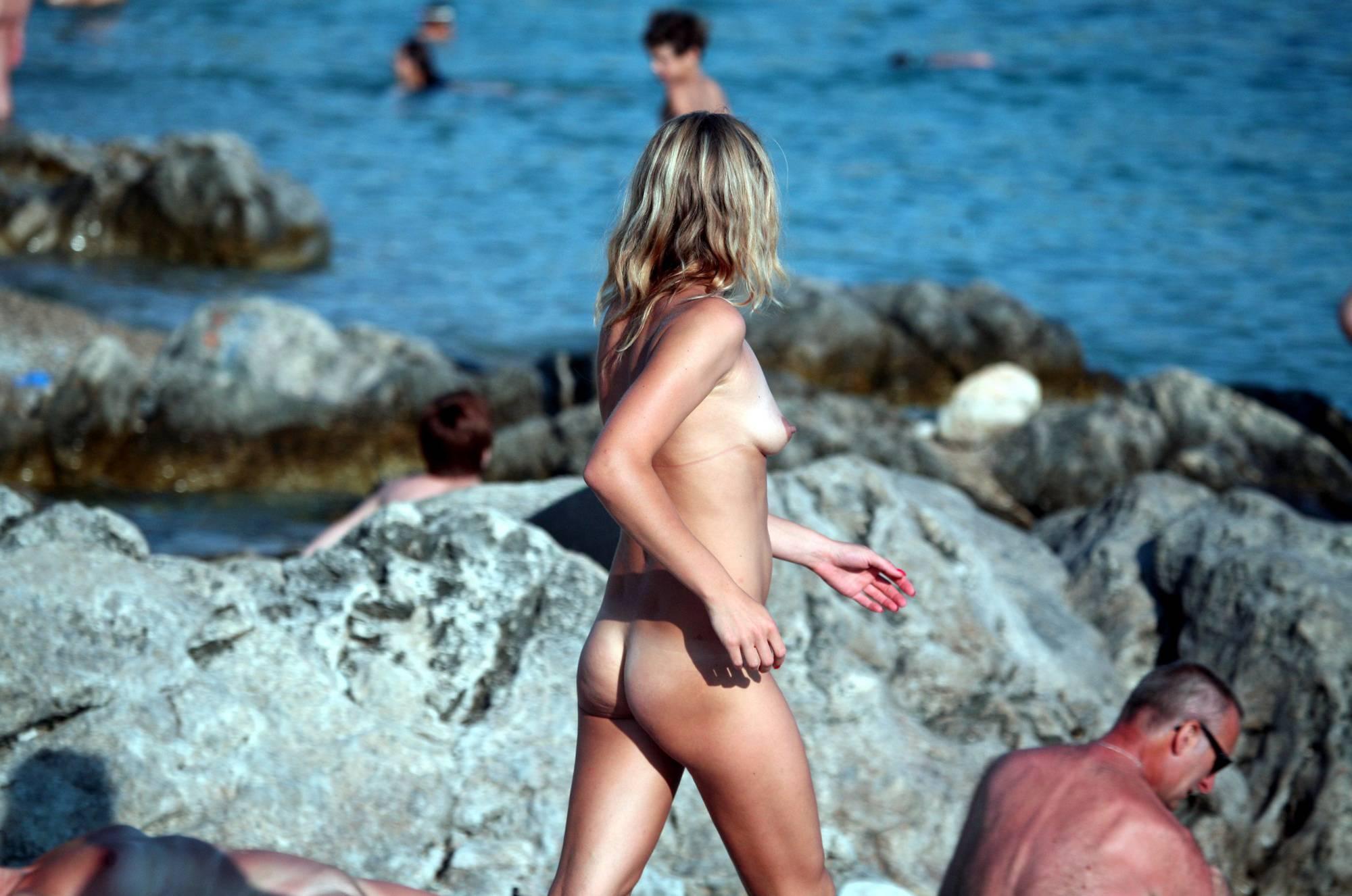 Blonde Girl Nudist Walk On - 1