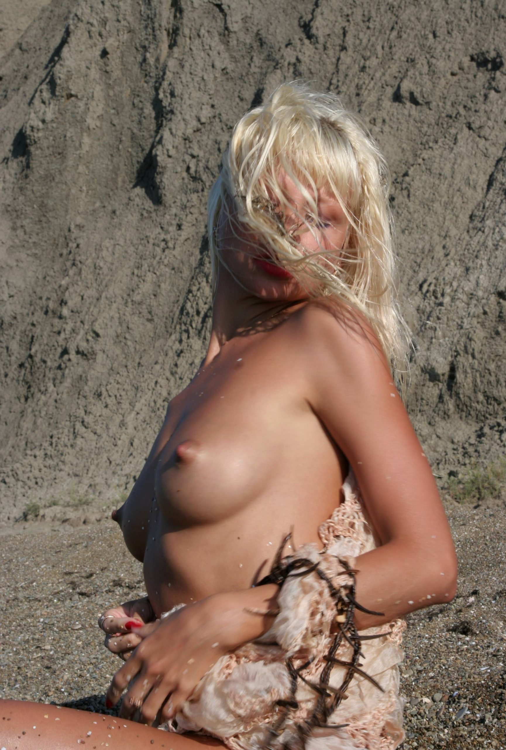 Purenudism Gallery-Blonde Nude on the Beach - 1