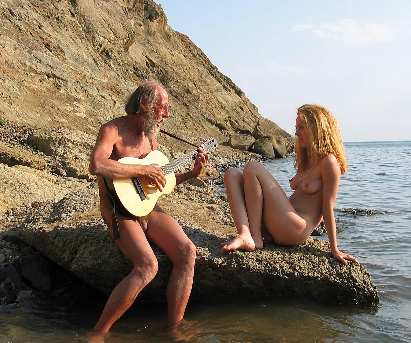 Pure Nudism Photos-Guitarists Beach Tunes - 1