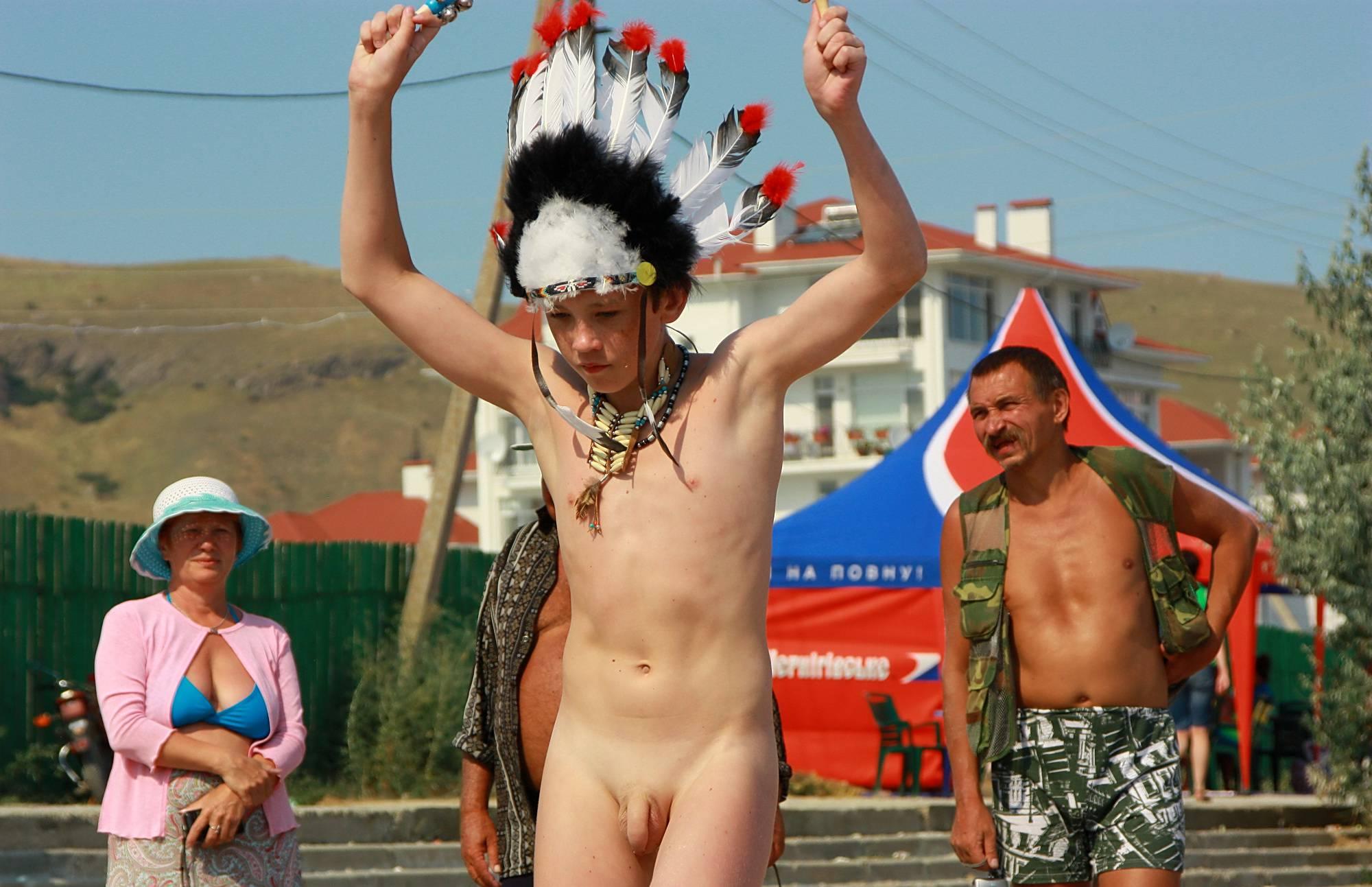 Purenudism Photos-Native Headdress Dance - 2
