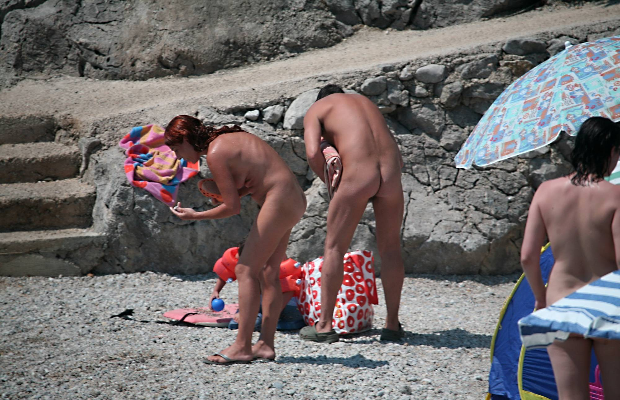 Naturist Family Packing Up - 1