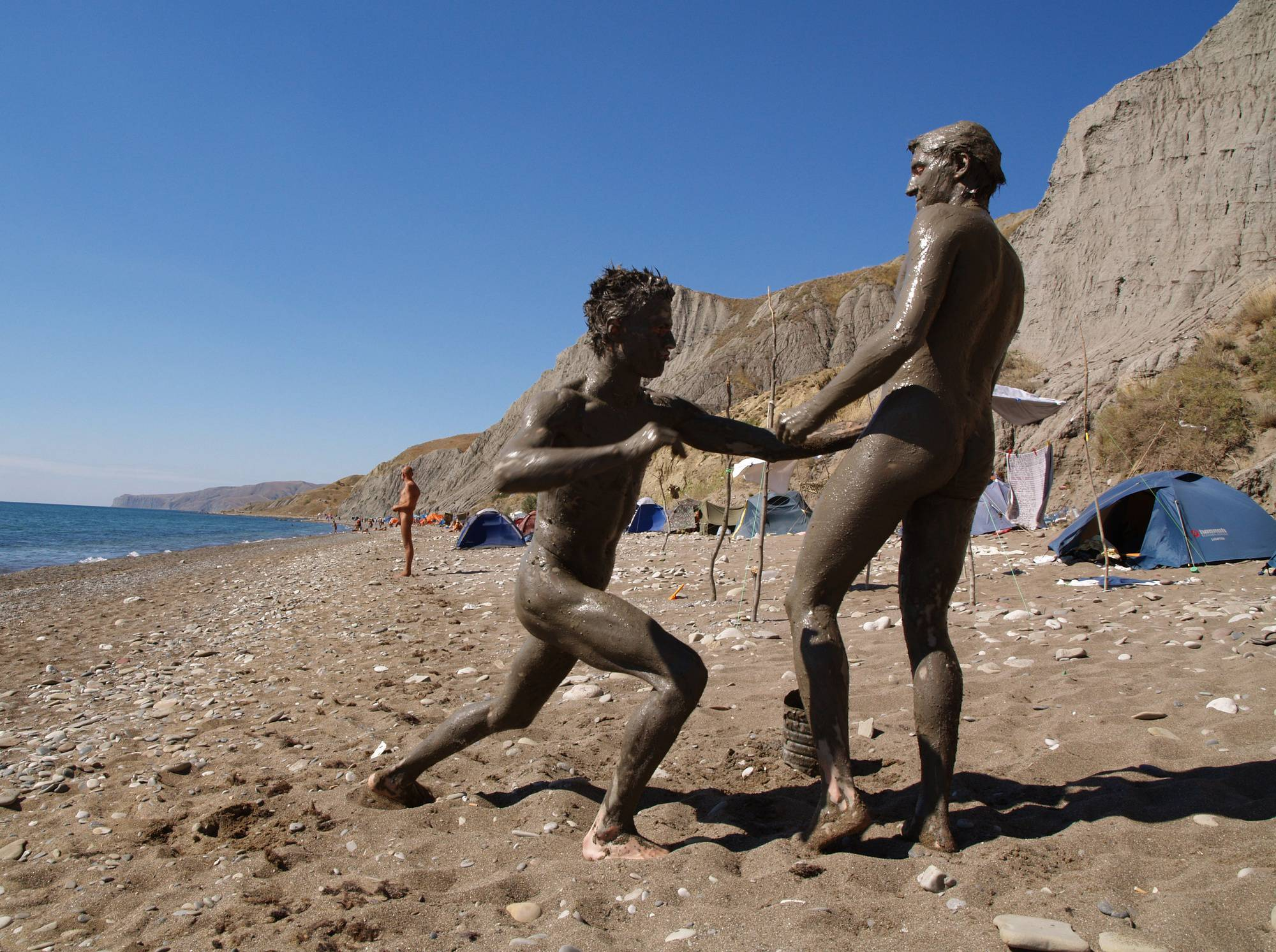 Purenudism Photos-Nude Beach Mud Soldiers - 3