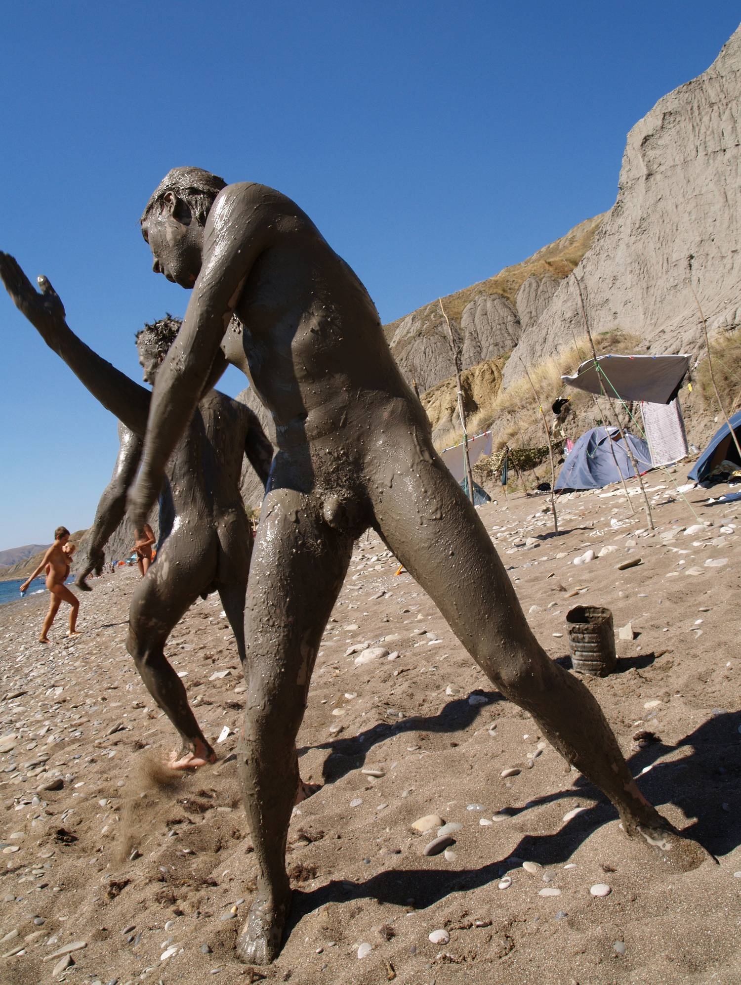 Purenudism Images-Nude Beach Mud Soldiers - 2