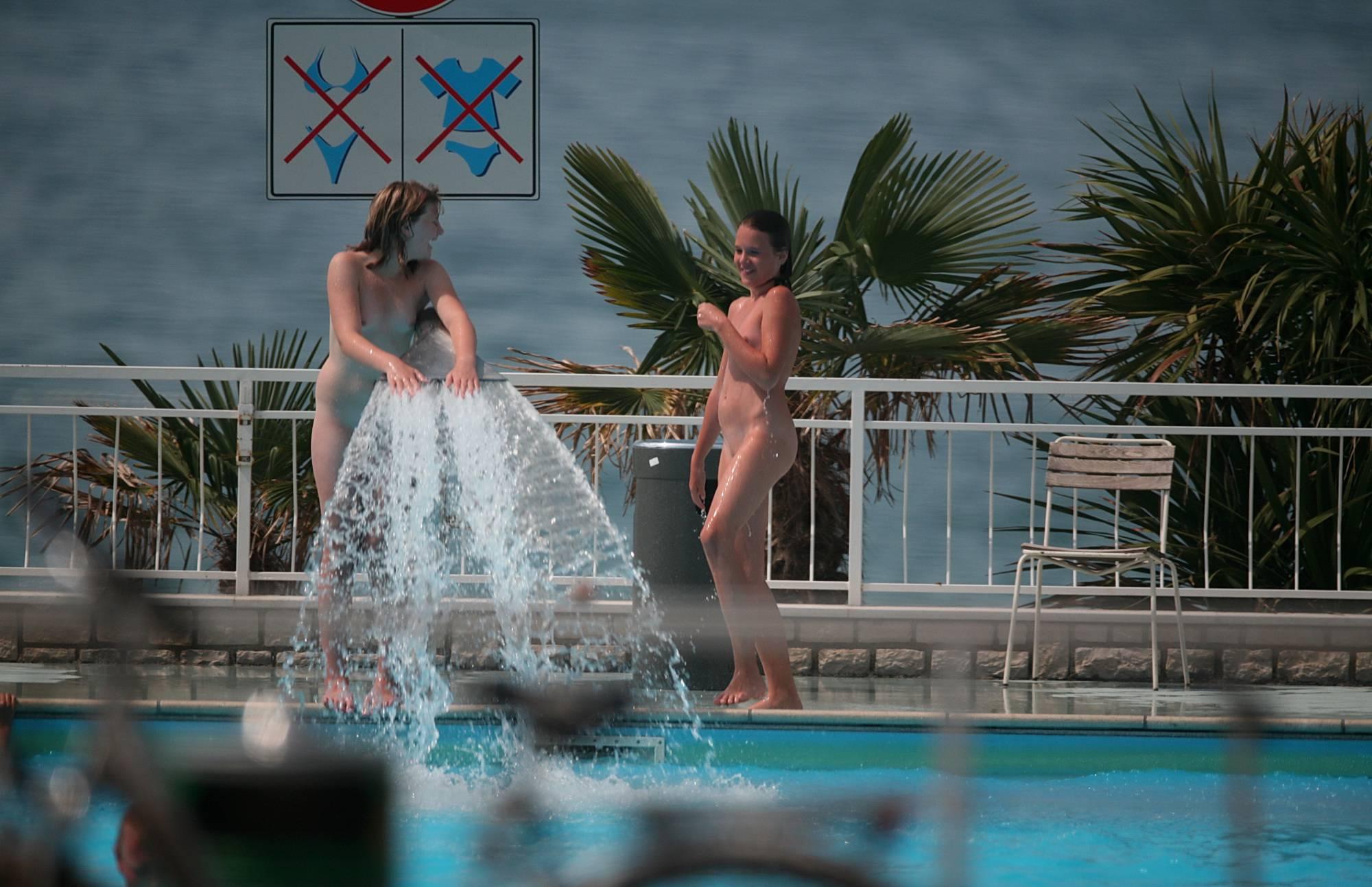 Pure Nudism Pics-Nude Pool Sprinkler Play - 1