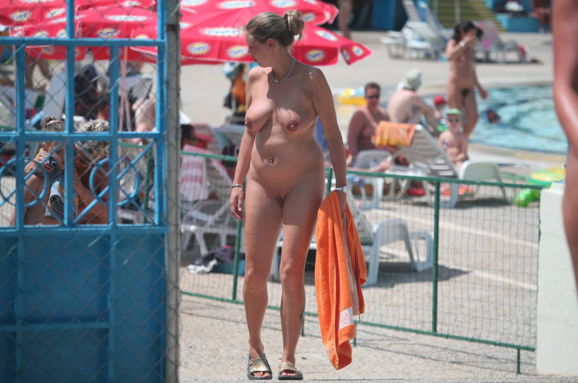 Pure Nudism Photos-Nudist Pool Guests Enter - 4