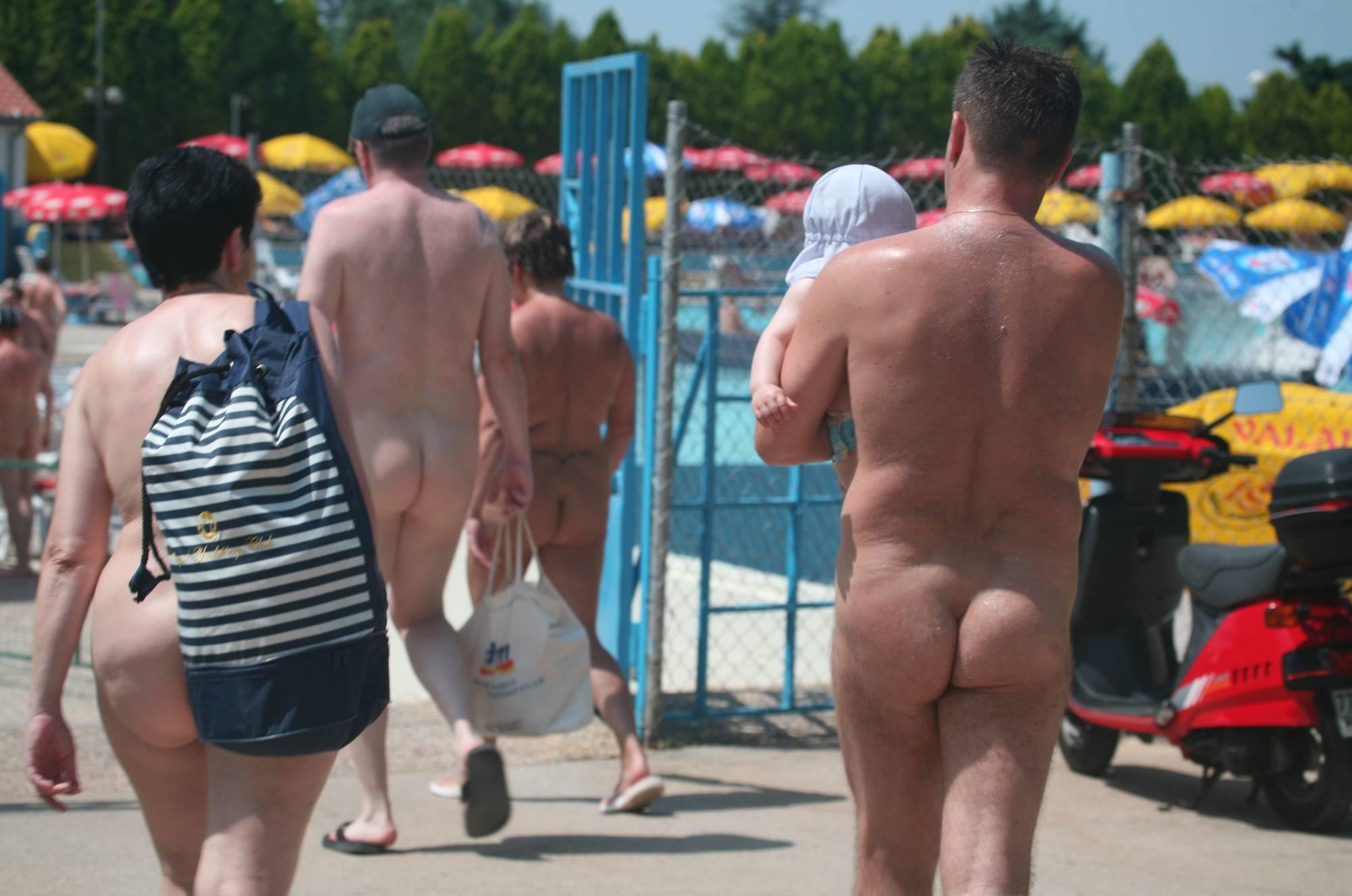 Pure Nudism Gallery-Nudist Pool Guests Enter - 2