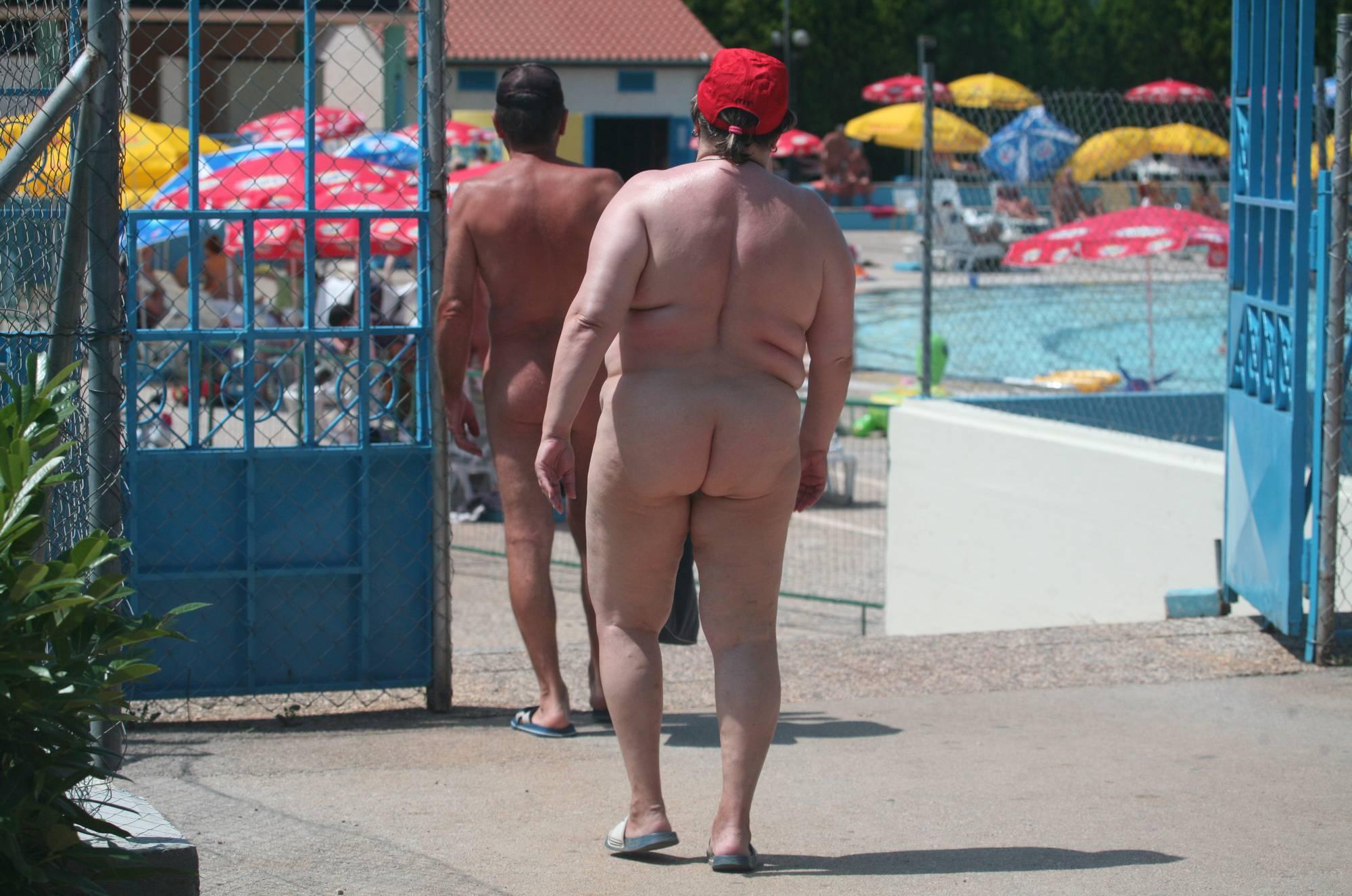 Pure Nudism Pics-Nudist Pool Guests Enter - 3