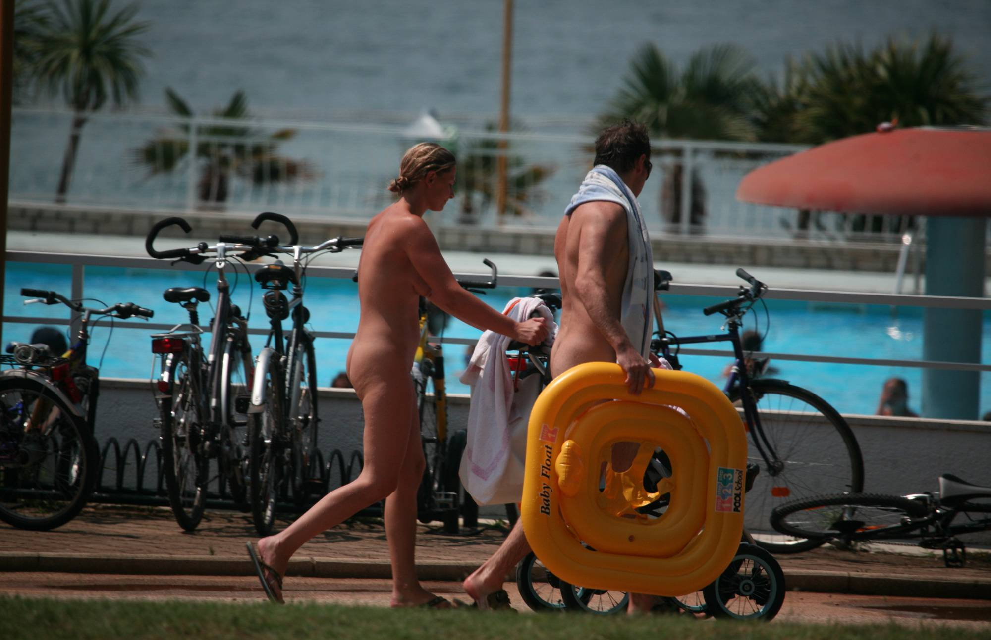 Pure Nudism Images-Poolside Camp Gathering - 4