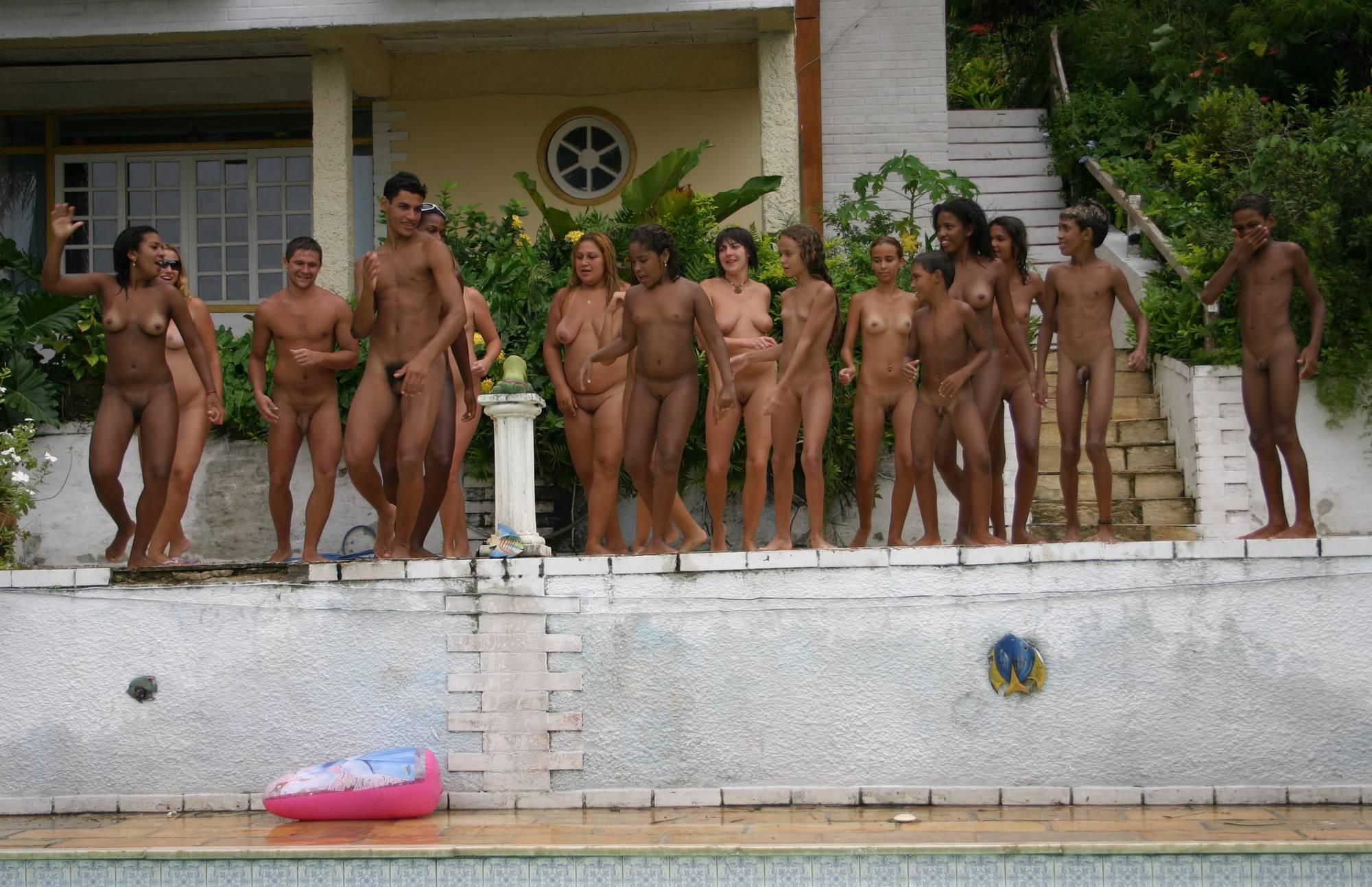 Pure Nudism Gallery-Brazilian Jumping in Pool - 1