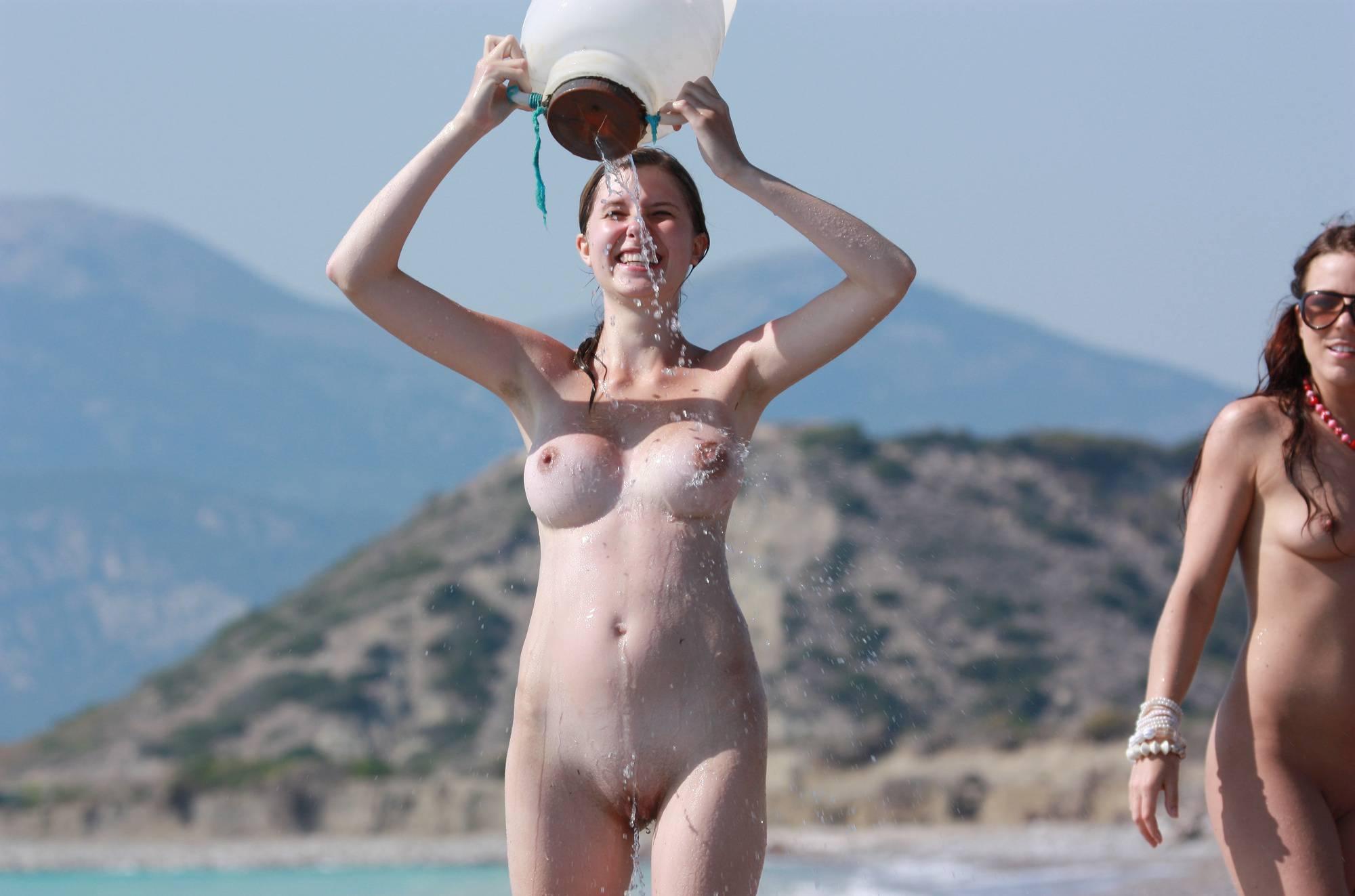 Pure Nudism Images-Greek Water Bucket Fun - 1