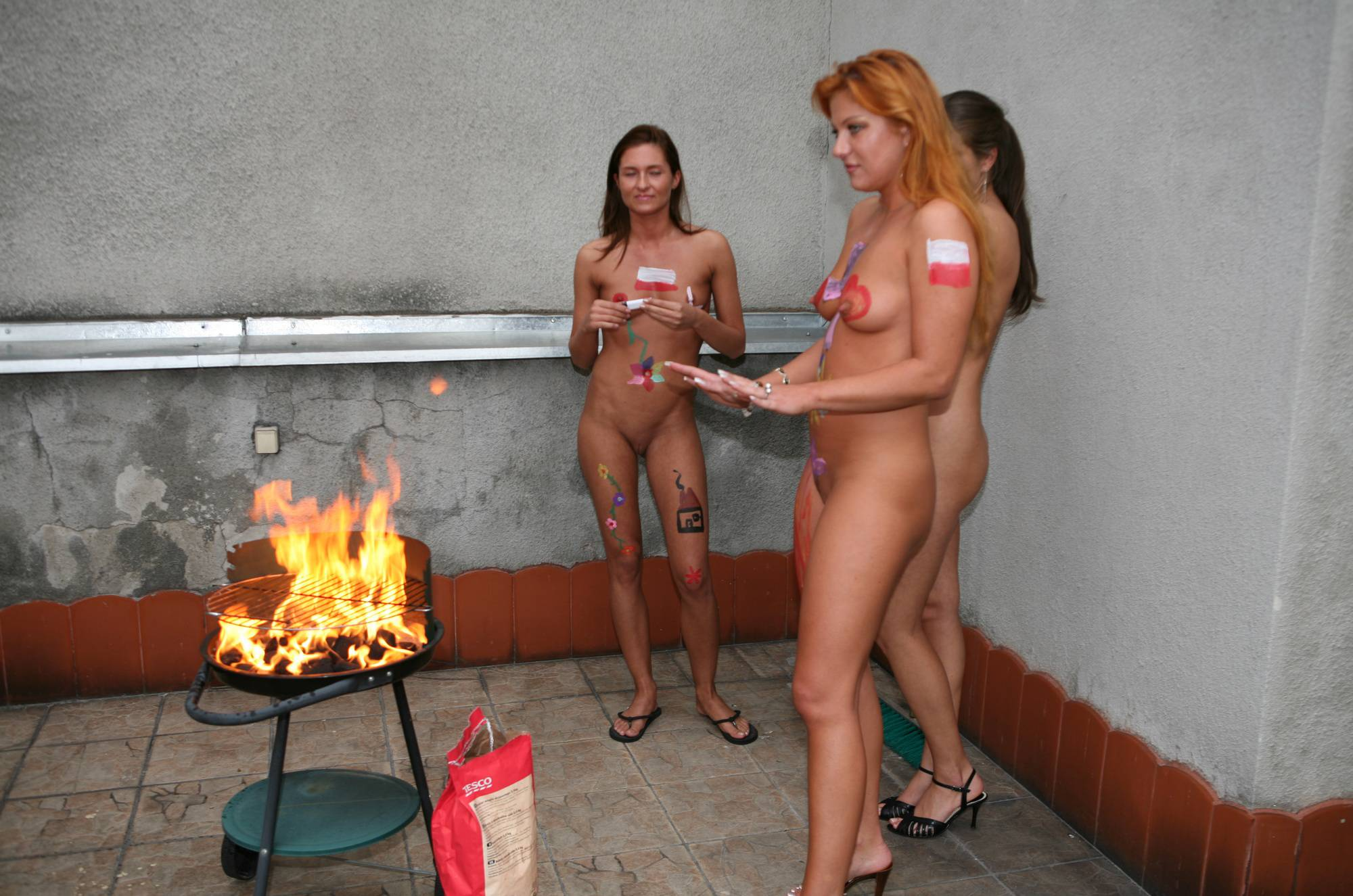 Pure Nudism Gallery-Painted Girl Rooftop Picnic - 1