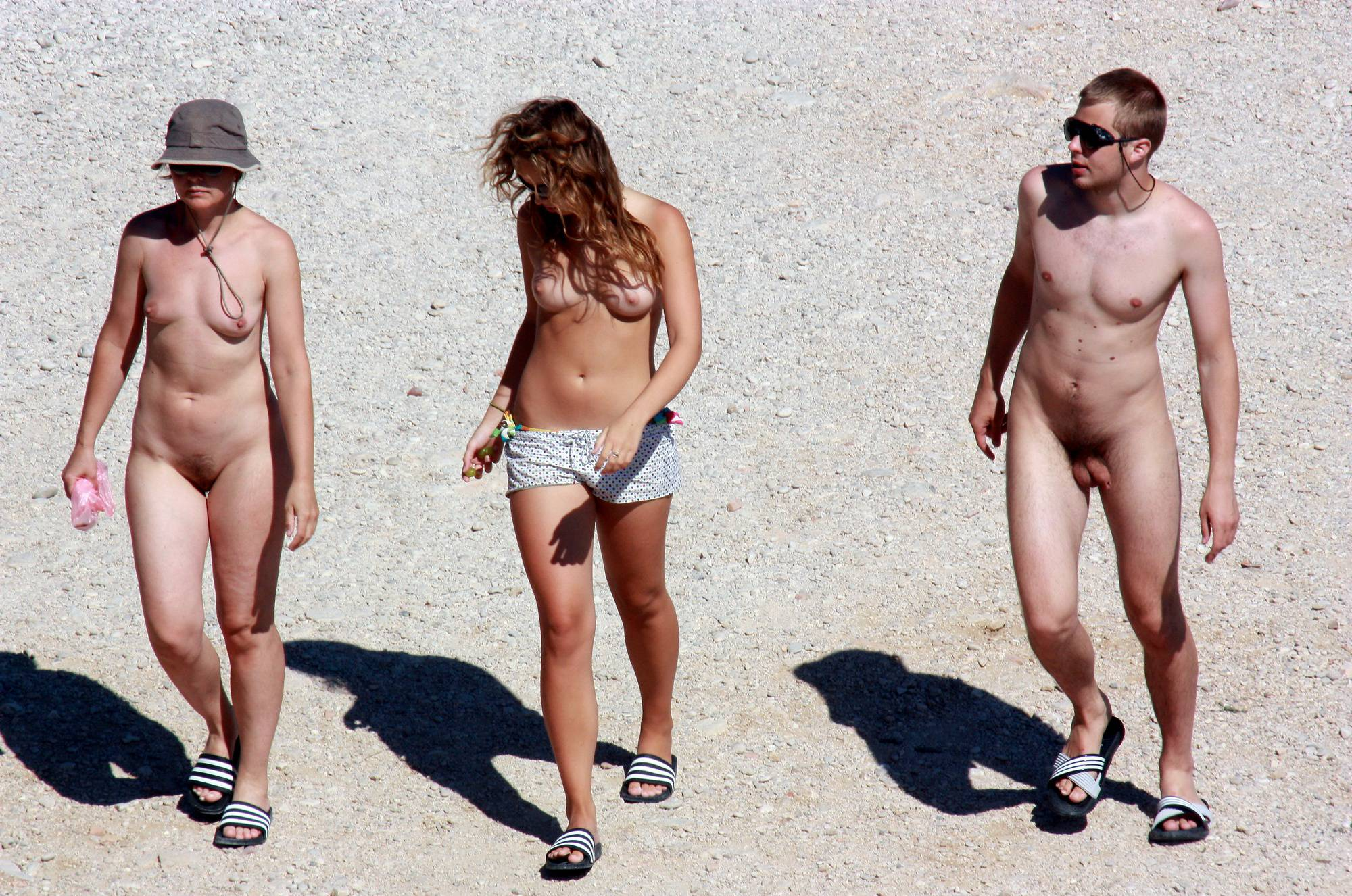 Nude and Topless Trio Walk - 2