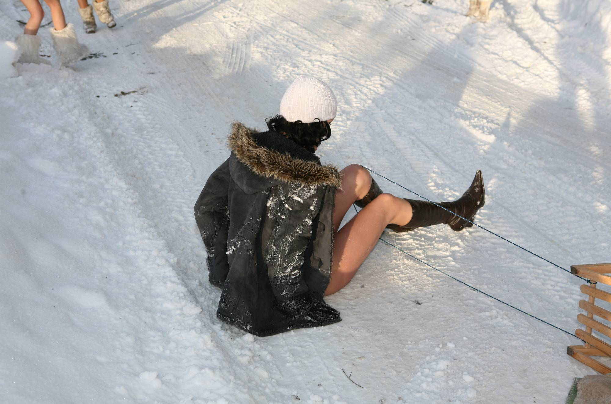 Purenudism Photos-Snow Day Couple's Sled - 2