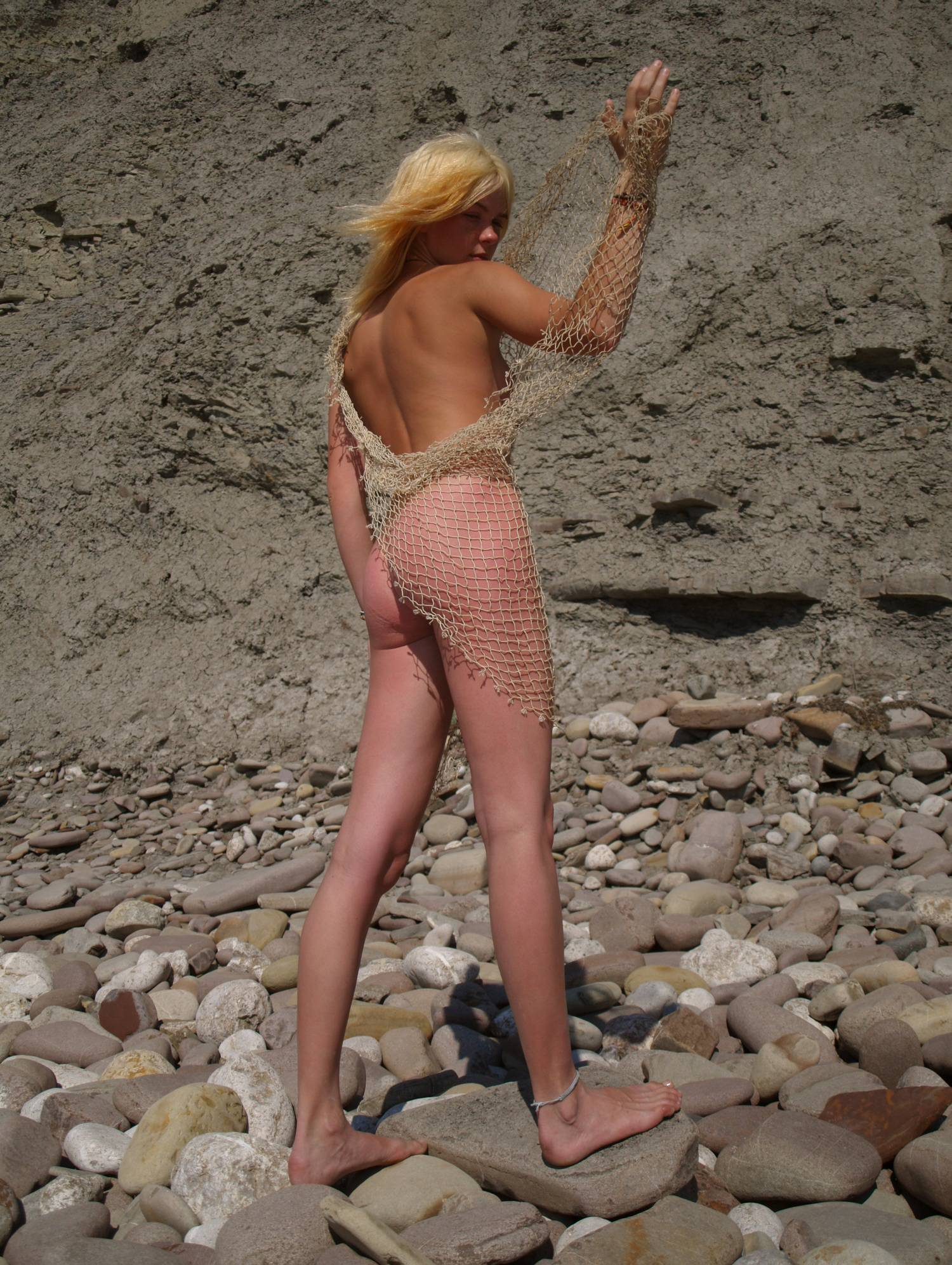 Pure Nudism Photos-Blonde Beach Rock Beauty - 2