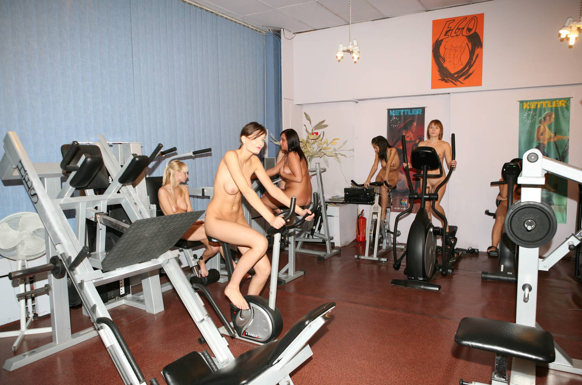 Pure Nudism Gallery-Gymnasts Riding The Bike - 1