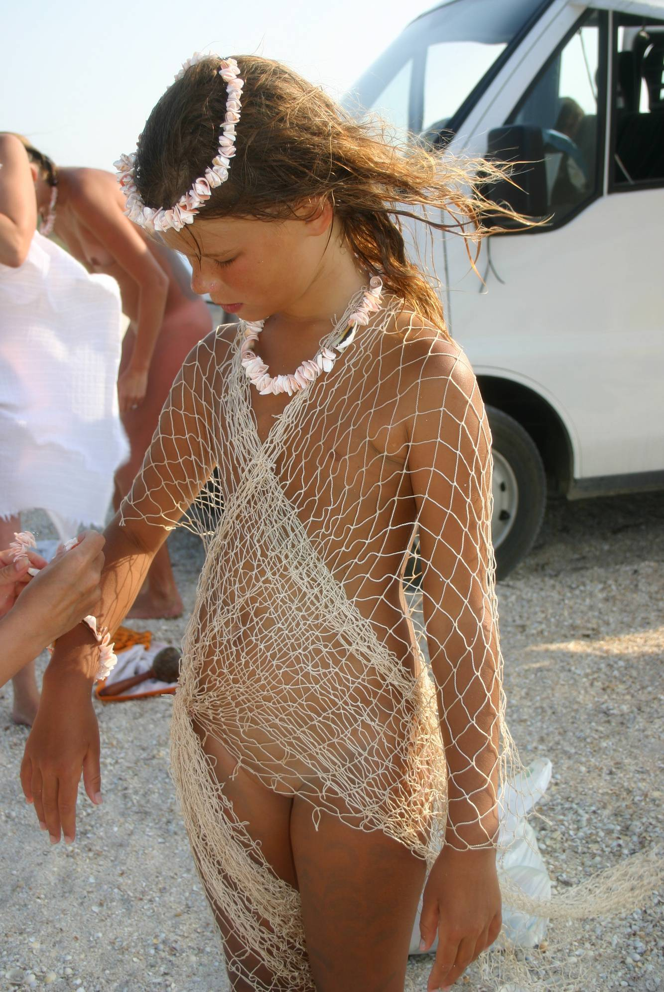 Purenudism Images-Young Beach Fishing Nets - 1